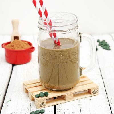 Proteïnedrank met Cacao Spirulina en notenmelk