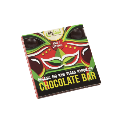 Rauwe Chocolade Noten en Kersen BIO 35 g